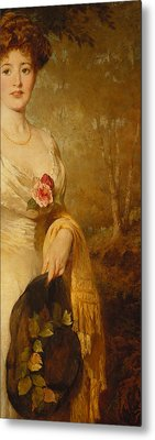 Portrait Of A Lady In A White Dress Metal Print by George Elgar Hicks