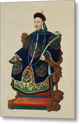 Portrait Of A Mandarin Metal Print by Chinese School