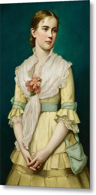 Portrait Of A Young Girl Metal Print by George Chickering Munzig
