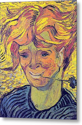 Portrait Of A Young Man With Cornflower Metal Print by Vincent Van Gogh