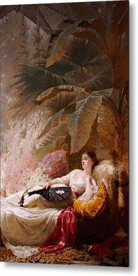 Portrait Of Adelaide Maria Guiness Reclining On A Sofa In A Conservatory Metal Print by George Elgar Hicks