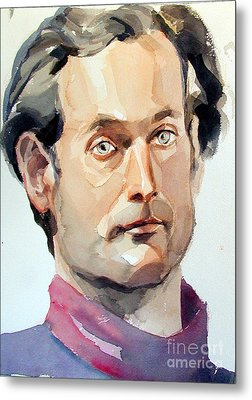 Watercolor Portrait Of A Man With Pale Blue Eyes Metal Print by Greta Corens