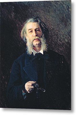 Portrait Of Dmitri Vasilievich Grigorovich 1822-99, 1876 Oil On Canvas Metal Print by Ivan Nikolaevich Kramskoy