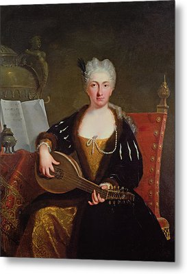 Portrait Of Faustina Bordoni, Handels Singer Metal Print by Bartolommeo Nazari
