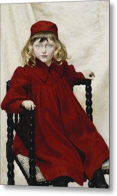 Portrait Of Harriet Fischer, Small Three-quarter Length, Wearing A Red Dress, 1896 Oil On Canvas Metal Print by Paul Fischer