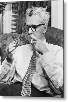 Portrait Of James Thurber Metal Print by Fred Palumbo