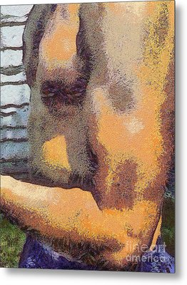 Portrait Of Muscle Man Metal Print by Odon Czintos