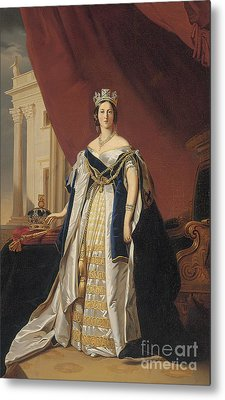 Portrait Of Queen Victoria In Coronation Robes Metal Print by Franz Xaver Winterhalter