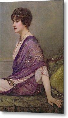 Portrait Of Th Ecourturier Madame Paquin Metal Print by Henri Gervex