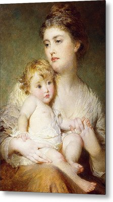 Portrait Of The Duchess Of St Albans With Her Son Metal Print by George Elgar Hicks