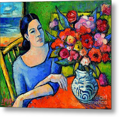 Portrait Of Woman With Flowers Metal Print by Mona Edulesco