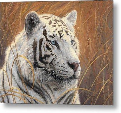 Portrait White Tiger 2 Metal Print by Lucie Bilodeau