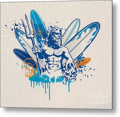 Poseidon Surfer With Skull Metal Print by Domenico Condello
