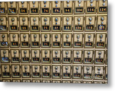 Post Office Combination Lock Boxes Metal Print by Sue Smith