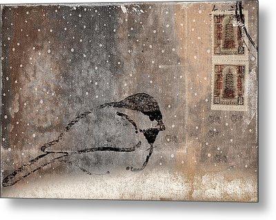 Postcard Chickadee In The Snow Metal Print by Carol Leigh