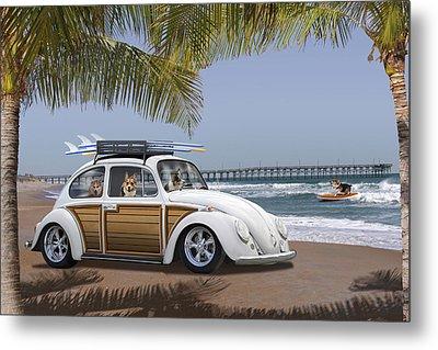 Postcards From Otis - Beach Corgis Metal Print by Mike McGlothlen