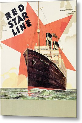 Poster Advertising The Red Star Line Metal Print by Belgian School