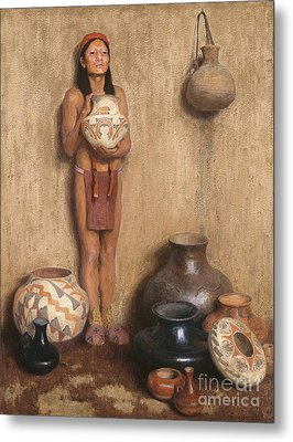Pottery Vendor Metal Print by Celestial Images