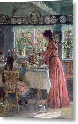 Pouring The Morning Coffee Metal Print by Laurits Regner Tuxen