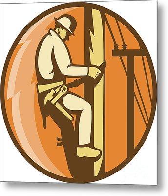 Power Lineman Electrician Climbing Utility Post Metal Print by Aloysius Patrimonio