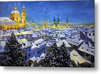 Prague After Snow Fall Metal Print by Yuriy Shevchuk