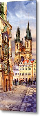 Prague Afternoon Astronomic Clock And Church Metal Print by Dmitry Koptevskiy