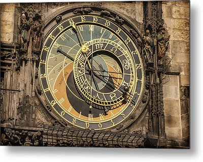 Prague Astronomical Clock Metal Print by Joan Carroll