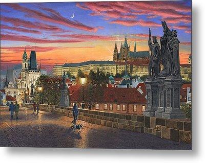 Prague At Dusk Metal Print by Richard Harpum