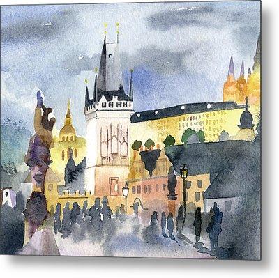 Prague At Night Metal Print by Lydia Irving