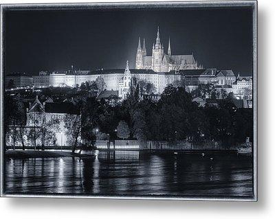 Prague Castle At Night Metal Print by Joan Carroll