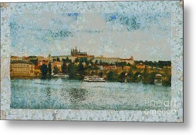 Prague Castle Over The River Metal Print by Dana Hermanova