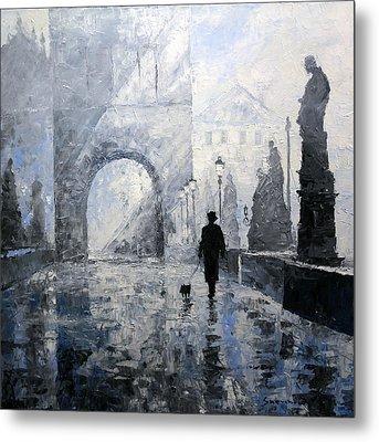 Prague Charles Bridge Morning Walk Metal Print by Yuriy Shevchuk