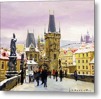 Prague Gharles Bridge Winter Metal Print by Yuriy Shevchuk