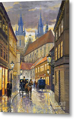Prague Old Street Stupartska Metal Print by Yuriy Shevchuk