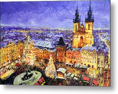 Prague Old Town Square Christmas Market Metal Print by Yuriy Shevchuk