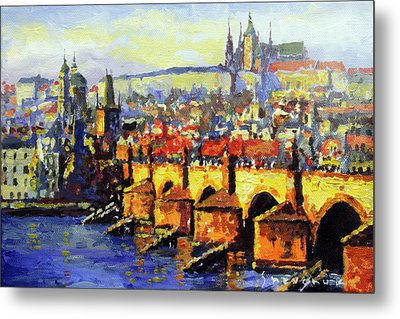 Prague Panorama Charles Bridge Metal Print by Yuriy Shevchuk