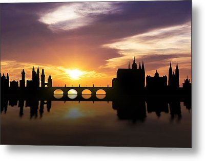 Prague Sunset Skyline  Metal Print by Aged Pixel