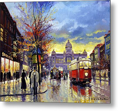 Prague Vaclav Square Old Tram Imitation By Cortez Metal Print by Yuriy  Shevchuk