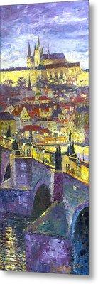 Prague Violet Panorama Night Light Charles Bridge Metal Print by Yuriy Shevchuk