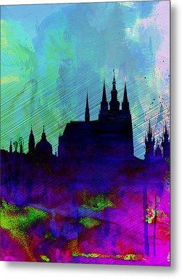 Prague Watercolor Skyline Metal Print by Naxart Studio