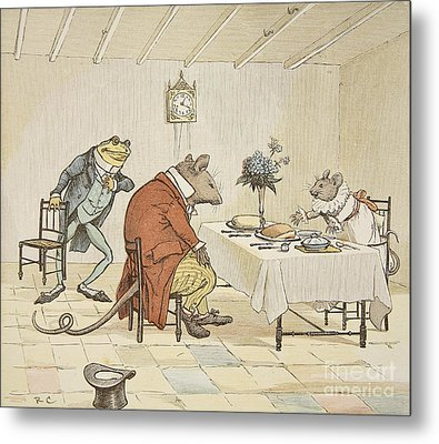 Pray Miss Mouse Will You Give Us Some Beer Metal Print by Randolph Caldecott