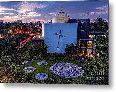 Prayer Garden Of The Chapel Of St. Basil University Of Saint Thomas - Montrose Houston Texas Metal Print by Silvio Ligutti