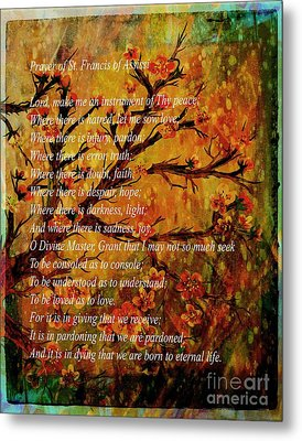 Prayer Of St. Francis Of Assisi  And Cherry Blossoms Metal Print by Barbara Griffin