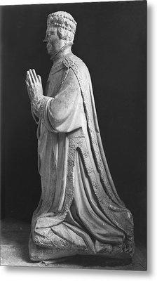 Praying Kneeling Figure Of Duc Jean De Berry 1340-1416 Count Of Poitiers Metal Print by French School