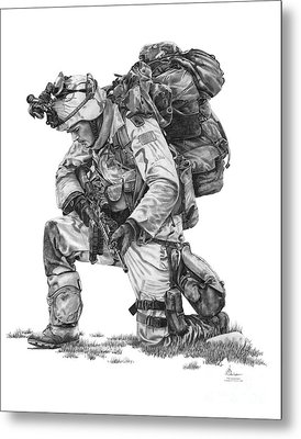 Praying  Soldier  Metal Print by Murphy Elliott