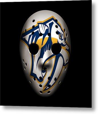 Predators Goalie Mask Metal Print by Joe Hamilton