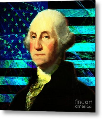 President George Washington V2 P138 Square Metal Print by Wingsdomain Art and Photography