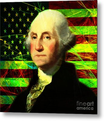 President George Washington V2 P50 Square Metal Print by Wingsdomain Art and Photography