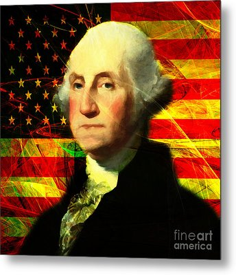 President George Washington V2 Square Metal Print by Wingsdomain Art and Photography