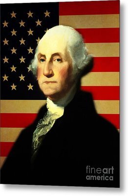 President George Washington V3 Metal Print by Wingsdomain Art and Photography